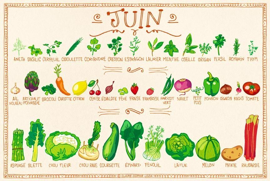 Fruits et légumes de saison - Juin
